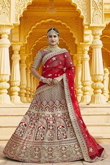 Picture of Dazzling Red Colored Bridal Embroidered Lehenga Choli