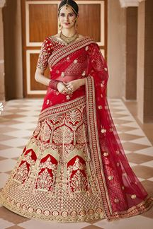 Picture of Glaring Red Colored Bridal Embroidered Lehenga Choli
