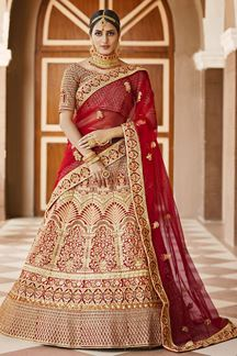 Picture of Lively Red Colored Bridal Embroidered Lehenga Choli