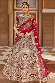 Picture of Sturdy Red Colored Bridal Embroidered Lehenga Choli