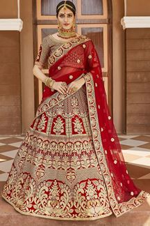 Picture of Powerful Red Colored Bridal Embroidered Lehenga Choli