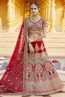 Picture of Attractive Red Colored Bridal Embroidered Lehenga Choli