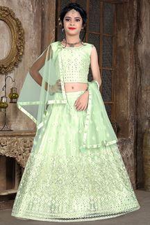 Picture of Wedding Designer Light Green Colored Net Kidswear Lehenga