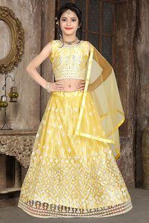 Picture of Wedding Designer Light Yellow Colored Net Kidswear Lehenga