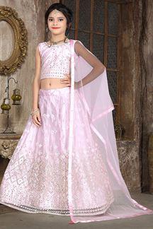 Picture of Wedding Designer Light Pink Colored Net Kidswear Lehenga