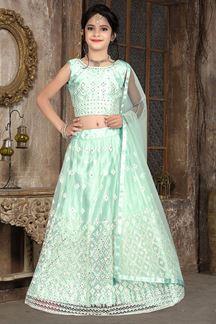 Picture of Wedding Designer Sky Blue Colored Net Kidswear Lehenga