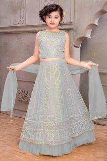 Picture of Wedding Designer Light Grey Colored Net Kids Lahenga Choli
