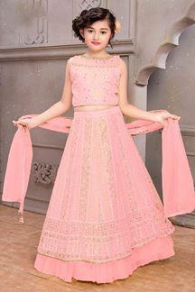Picture of Wedding Designer Light Pink Colored Net Kids Lahenga Choli
