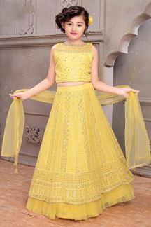 Picture of Wedding Designer Light yellow Colored Net Kids Lahenga Choli