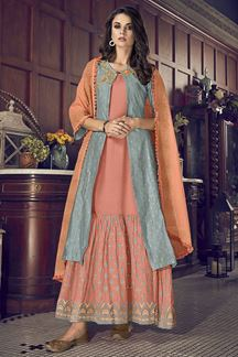 Picture of Turquoise Blue & Peach Colored Indo Western Jacket Style Suit (Unstitched suit)