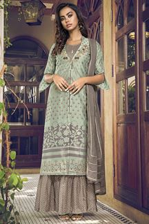 Picture of Green & Grey Colored Indo Western Style Jacket Suit (Unstitched suit)