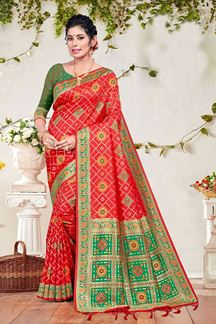 Picture of Red & Parrot Green Colored Stylish Banarasi Silk Saree