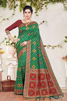 Picture of Green & Maroon Colored Stylish Banarasi Silk Saree