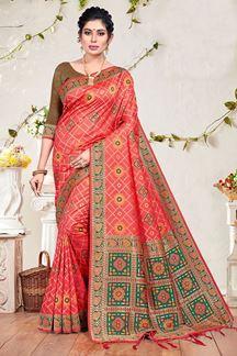 Picture of Pink & Brown Colored Stylish Banarasi Silk Saree