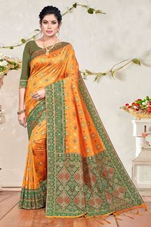 Picture of Orange & Mehendi Colored Banarasi Silk Saree