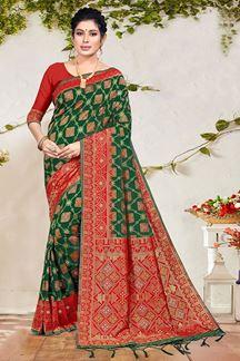 Picture of Green & Red Colored Banarasi Silk Saree