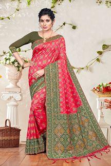 Picture of Pink & Mehendi Colored Banarasi Silk Saree