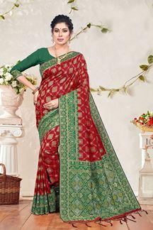 Picture of Maroon & Green Colored Banarasi Silk Saree