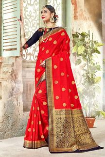 Picture of Red & Navy Blue Colored Designer Traditional Wear Banarasi Art Silk Saree