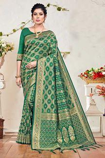 Picture of Green Colored Banarasi Silk Festive Saree