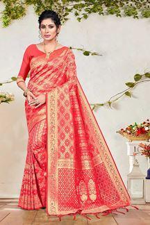 Picture of Pink Colored Stylish Banarasi Silk Festive Saree