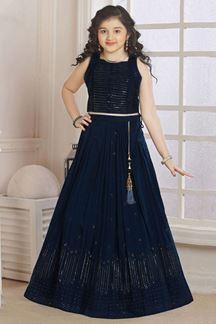 Picture of Wedding Designer Navy Blue Colored Georgette Kidswear Lehenga