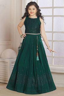 Picture of Wedding Designer Green Colored Georgette Kidswear Lehenga