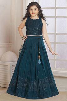 Picture of Wedding Designer Rama Colored Georgette Kidswear Lehenga
