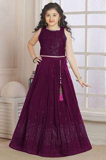 Picture of Wedding Designer Wine Colored  Georgette Kidswear Lehenga
