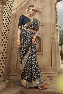Picture of Black Colored Designer Banarasi Silk Weaving Saree