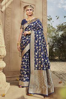 Picture of Navy blue  Colored Designer Banarasi Silk Weaving Saree