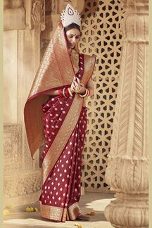 Picture of Maroon  Colored Designer Banarasi Silk Weaving Saree