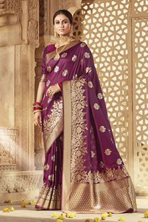 Picture of Designer Purple Colored Banarasi Silk Weaving Saree