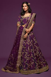 Picture of Designer Purple Colored Traditional Lehenga choli