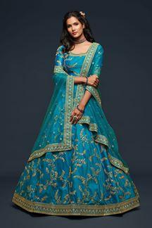 Picture of Designer turquoise Colored Traditional Lehenga choli