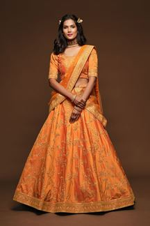 Picture of Designer Orange Colored Traditional Lehenga choli