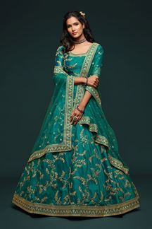 Picture of Designer Teal Blue Colored Traditional Lehenga choli