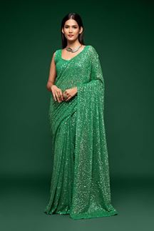 Picture of Sequences Work Green Colored Partywear Designer Saree