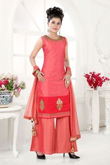 Picture of Straight Cut Two Tone Pink Colored Partywear Suit
