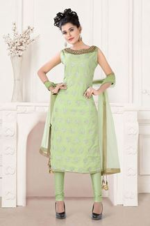 Picture of Straight Cut Pista Green Colored Partywear Suit