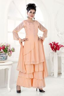 Picture of Ethnic Light Peach Colored Palazzo Suit