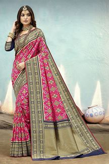 Picture of Stunning Pink & Blue Colored Festive Wear Silk Saree